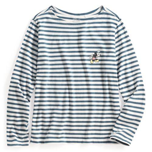 迪士尼系列寬版條紋長袖印花T恤-16-女