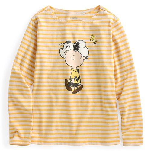史努比系列寬版條紋長袖印花T恤-07-女