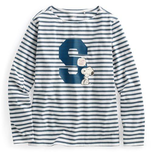 史努比系列寬版條紋長袖印花T恤-08-女