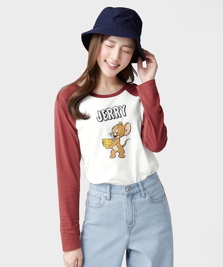 Tom & Jerry拉克蘭長袖印花T恤-02-女