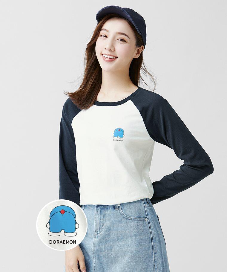 哆啦A夢拉克蘭長袖印花T恤-02-女