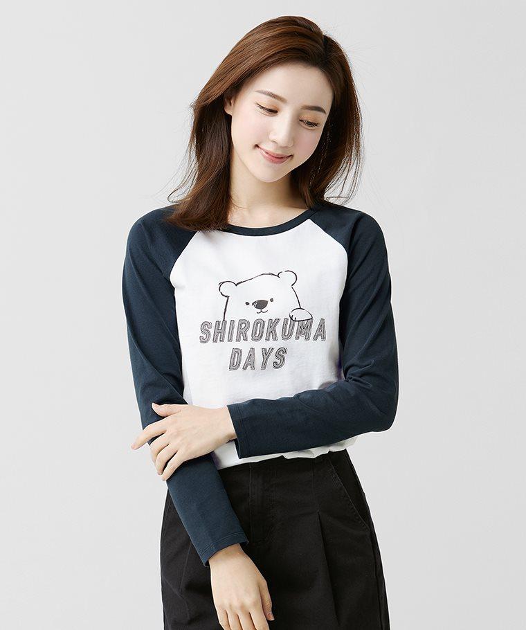 Shirokuma Days拉克蘭長袖印花T恤-01-女