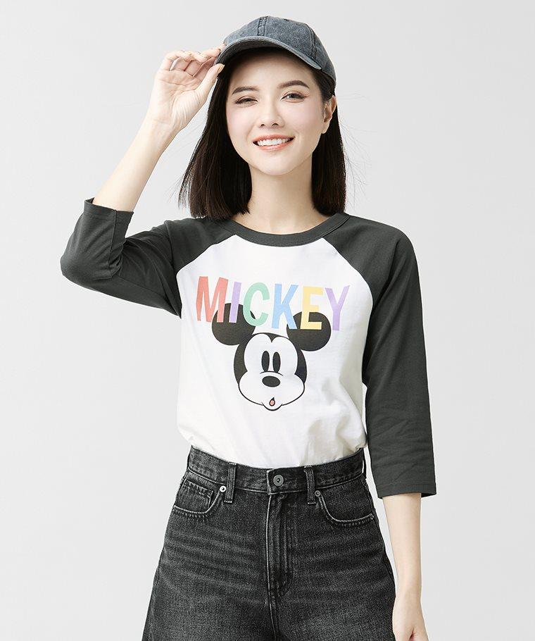迪士尼系列拉克蘭七分袖印花T恤-03-女