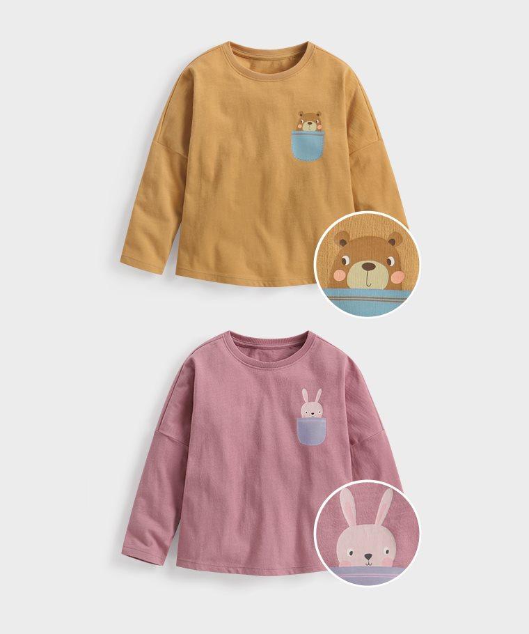 竹節棉寬鬆印花T恤-01-童