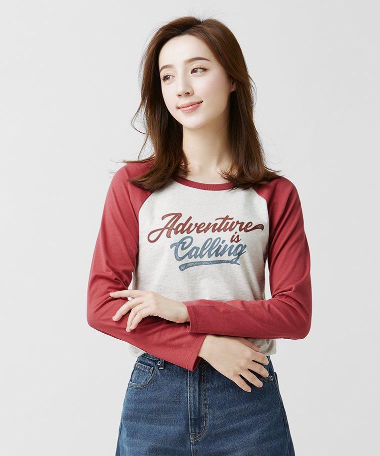文字拉克蘭長袖印花T恤-05-女