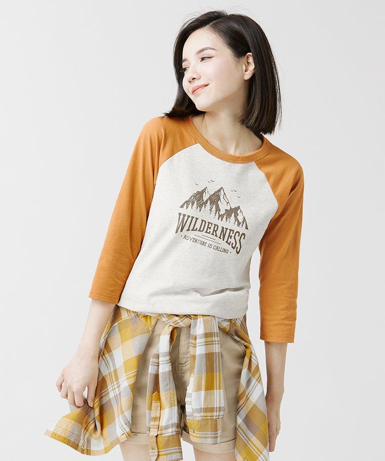 文字拉克蘭七分袖印花T恤-07-女