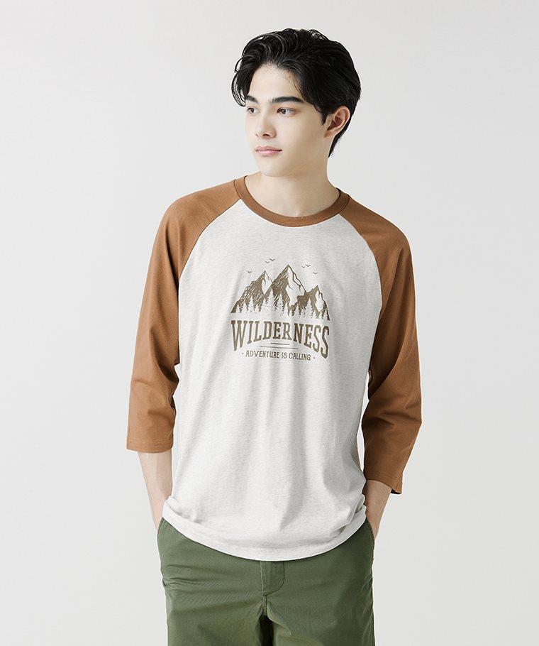 文字拉克蘭七分袖印花T恤-07-男